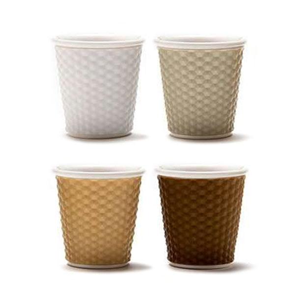 """סט 4 כוסות אספרסו פורצלן עם שרוול סיליקון 80 מ""""ל - FOOD APPEAL"""