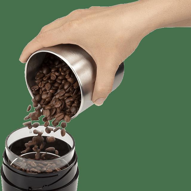 מטחנת קפה ביתית - דלונגי KG200 תצוגת מיכל