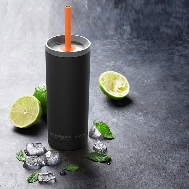כוס טרמית עם קש - Asobu Super sippi שחור אווירה